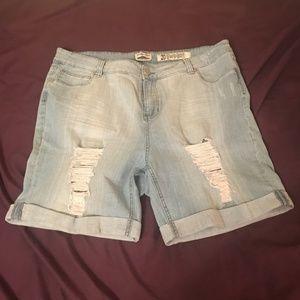 Pants - Indigo Rein Forever Distressed Denim Shorts